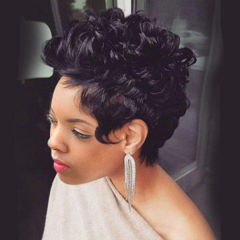 Short Layered Fluffy Curly Synthetic Wig - Black