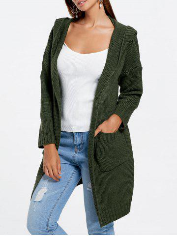 Front Pockets Knit Hooded Cardigan - Army Green - One Size