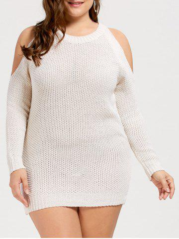 Plus Size Cold Shoulder Bodycon Sweater Dress - White - One Size