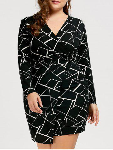 Printed V Neck Plus Size Dress with Sleeves - Black - 4xl