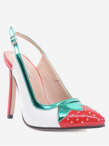 Fashion Strawberry Pattern Studded Pumps WHITE 37