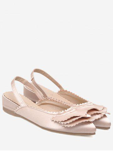 Slingback Toothed Edge Flat Shoes - Light Pink - 39