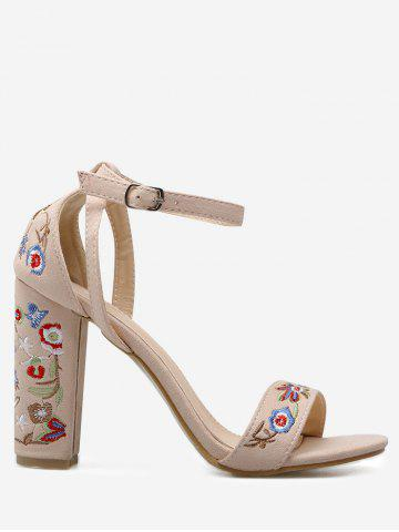 Sale Ankle Strap Embroidered Block Heel Sandals APRICOT 40