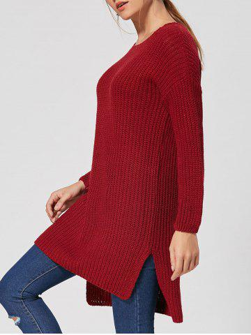 Slit High Low Casual Tricot Robe Rouge vineux  TAILLE MOYENNE