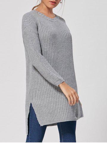 Discount Slit High Low Casual Knit Dress - ONE SIZE GRAY Mobile