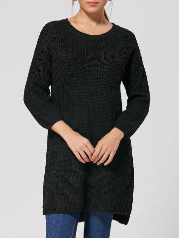 Best Slit High Low Casual Knit Dress BLACK ONE SIZE