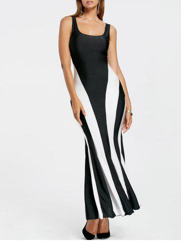 Latest Sexy Scoop Neck Color Block Hollow Out Sleeveless Maxi Dress For Women WHITE AND BLACK ONE SIZE(FIT SIZE XS TO M)