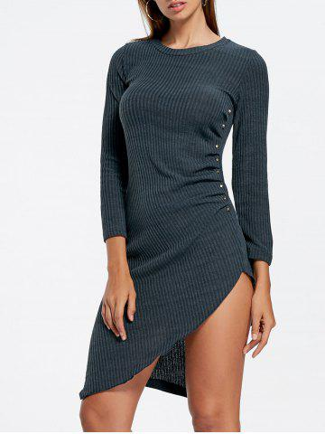 Outfits Asymmetrical Crew Neck Mini Knit Bodycon Dress