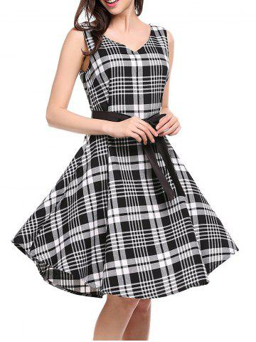 Latest V Neck Plaid Swing Dress