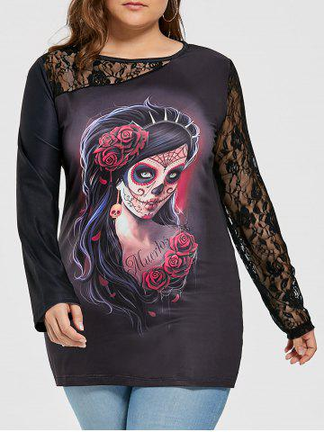 46 skull plus size lace insert halloween witch t shirt