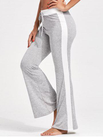 Unique Drawstring Single Stripe Flare Pants - M GRAY Mobile