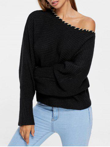 New Skew Collar Short Sweater BLACK L
