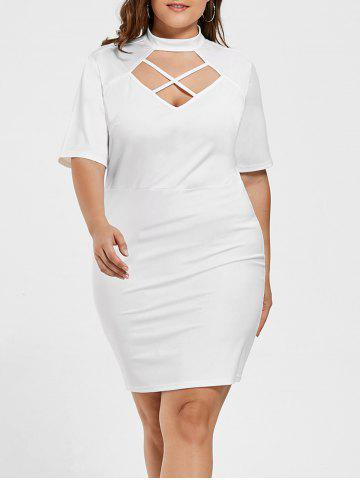 Cheap Criss Cross Bodycon Plus Size Fitted Dress