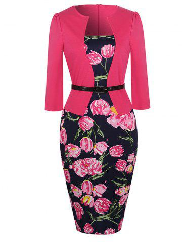 Online Floral Print Belted Bodycon Dress