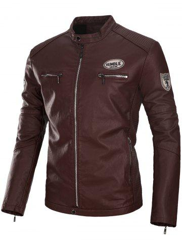 New Appliques Zip Up PU Leather Jacket