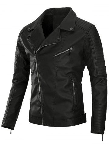 Affordable Zip Up Pleat PU Leather Biker Jacket
