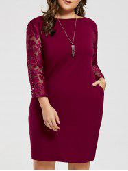 Plus Size Mesh Sleeve Fitted Dress with Pocket