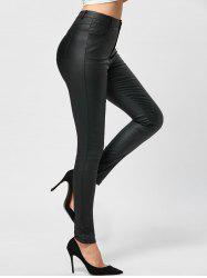 Five Pockets PU Leather Tight Pants
