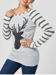 Stripe and Elk Printed Raglan Sleeve T-Shirt - GRAY