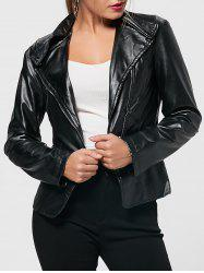 PU Leather Zipper Biker Jacket - BLACK