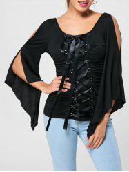Lace Up Ruched Flare Sleeve Top - BLACK