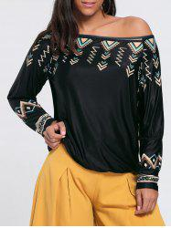 Skew Neck Drop Sleeve Printed T-shirt -