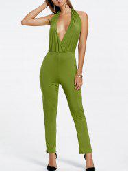 Backless Plunging Neckline Jumpsuit - GREEN S