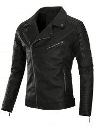 Zip Up Pleat PU Leather Biker Jacket