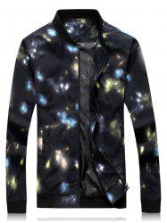 Color Block Galaxy Print Zip Up Jacket