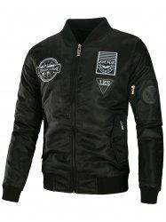 Appliques Embroidered Padded Bomber Jacket