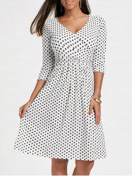 V Neck Polka Dot A Line Dress