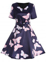 V Neck A Line Butterfly Print Dress