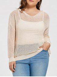 Plus Size Sheer Crochet  Hooded Sweater
