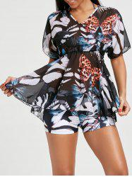 Butterfly Print Bikini with Flounce Cover-Up - FLORAL L