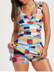 Skirted Flounce Color Block Swimsuit - FLORAL L