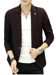 One Button Metal Detail Checked Blazer - WINE RED 3XL