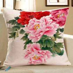 Colorful Peony Pattern Linen Decorative Pillow Case