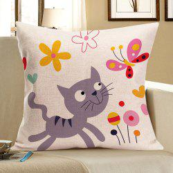 Cat Catching Butterfly Print Pillow Case