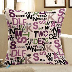 Messy Letters Printed Square Linen Pillow Case