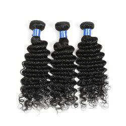 1Pc Indian Long Deep Wave Human Hair Weave - NATURAL BLACK
