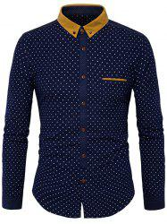 Corduroy Panel Button Down Polka Dot Shirt