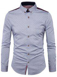 Corduroy Insert Button Down Polka Dot Shirt
