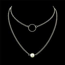 Faux Pearl Hoop Alloy Layered Necklaces