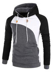 Raglan Sleeve Color Block Fleece Hoodie