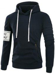 Zip Pocket Printed Fleece Pullover Hoodie