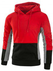 Color Block Drawstring Fleece Pullover Hoodie