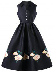 Floral Single Breasted Sleeveless Knee Length Dress