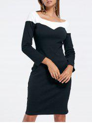 Two Tone Long Sleeve Pencil Dress