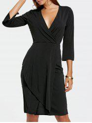 Plunging Neckline Surplice Sheath Dress