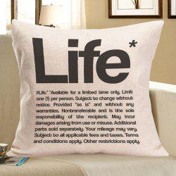 Linen Letter Life Printed Throw Pillow Case